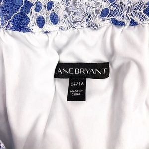 Lane Bryant Tops - Lane Bryant Blue White Lace Off Shoulder Top